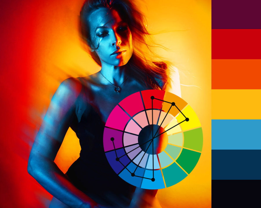 Selbstportrait Farbschema Farbtheorie Komplementärfarben Tetrad